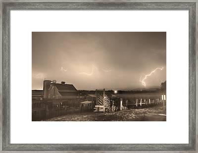 Mcintosh Farm Lightning Thunderstorm View Sepia Framed Print by James BO  Insogna