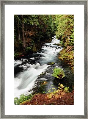 Mckenzie River In Early Autumn, Oregon Framed Print by Michel Hersen