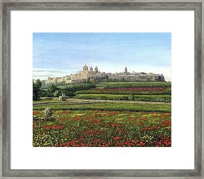 Mdina Poppies Malta Framed Print by Richard Harpum
