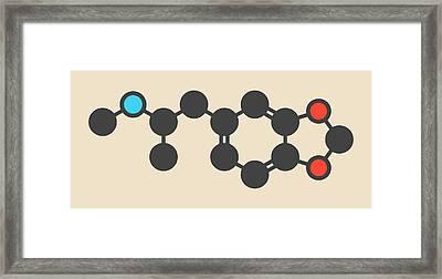 Mdma Ecstasy Party Drug Molecule Framed Print by Molekuul