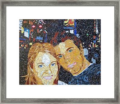 Me And Santi In Times Square Framed Print by Rachel Van der pol