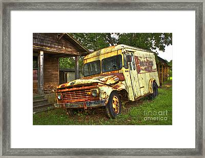 Rusty And Tired Meadow Gold Milk Ford Framed Print by Reid Callaway