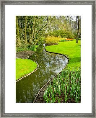 Meandering Stream Through Keukenhof Gardens Near Lisse Netherlands Framed Print by Robert Ford