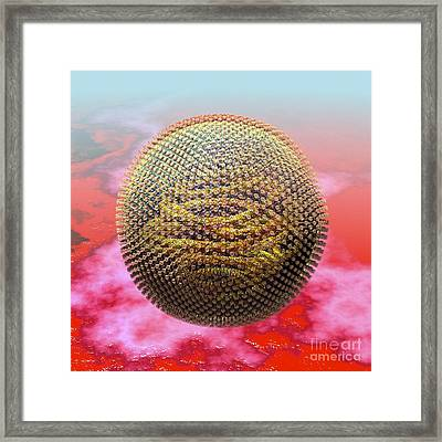 Measles Virus Particle, Artwork Framed Print by Russell Kightley