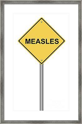 Measles Warning Sign Framed Print by Henrik Lehnerer