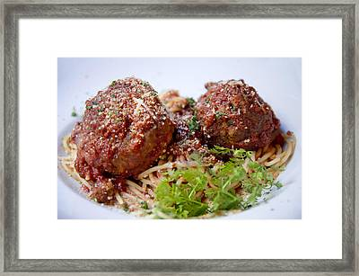 Meatballs And Spaghetti  Framed Print by Alicia Morales