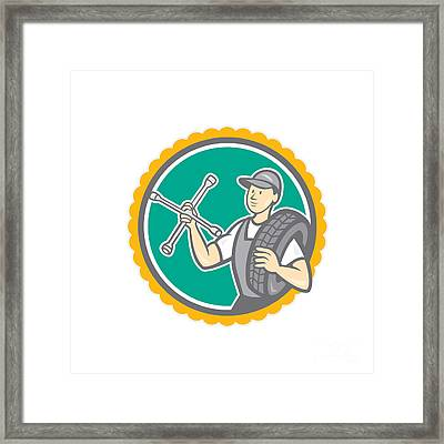 Mechanic With Tire Wrench Rosette Cartoon Framed Print by Aloysius Patrimonio