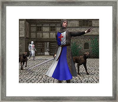 Mediaeval Or Norman Knights Guarding A Castle Gate Framed Print by Fairy Fantasies