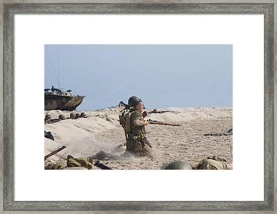 Medic The Sgt Is Hit Framed Print by Thomas Woolworth