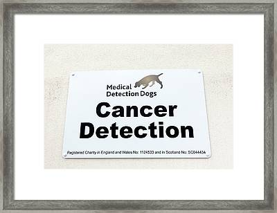 Medical Detection Dogs Sign Framed Print by Louise Murray