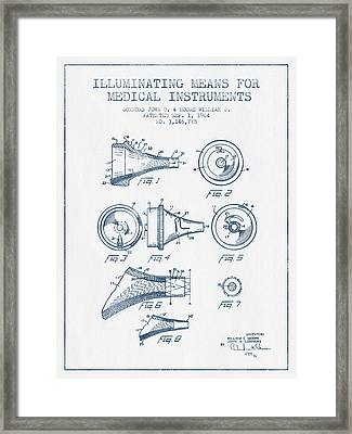 Medical Instrument Patent From 1964 - Blue Ink Framed Print by Aged Pixel