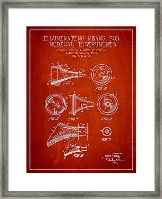 Medical Instrument Patent From 1964 - Red Framed Print by Aged Pixel