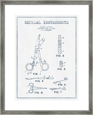 Medical Instruments Patent From 2001   - Blue Ink Framed Print by Aged Pixel