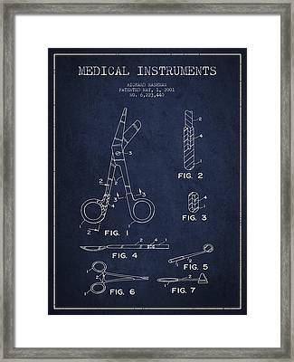 Medical Instruments Patent From 2001 - Navy Blue Framed Print by Aged Pixel