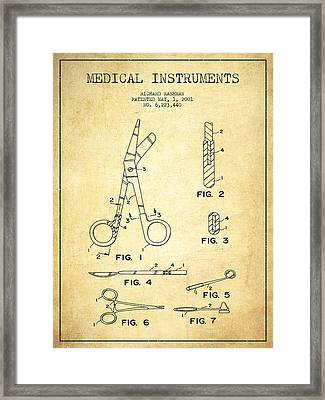 Medical Instruments Patent From 2001 - Vintage Framed Print by Aged Pixel