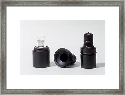 Medicine Containers Framed Print by Science Photo Library