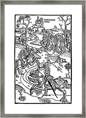 Medieval Battle Engraving Chronicon Pictum Framed Print by