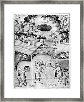 Medieval Glass Manufacture Framed Print by Granger