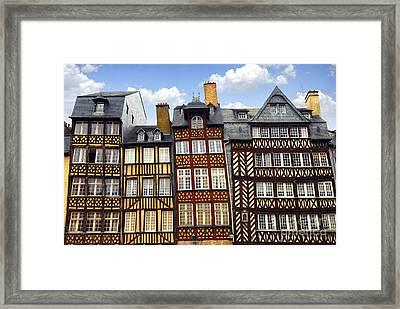 Medieval Houses In Rennes Framed Print by Elena Elisseeva