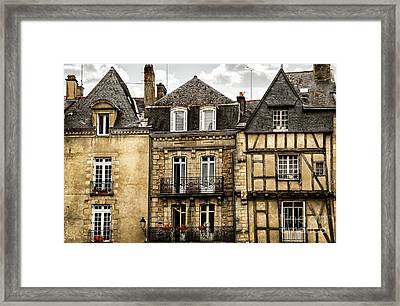 Medieval Houses In Vannes Framed Print by Elena Elisseeva