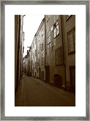 Medieval Street In Stockholm - Monochrome Framed Print by Ulrich Kunst And Bettina Scheidulin