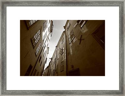Medieval Street Seen From Below - Monochrome Framed Print by Ulrich Kunst And Bettina Scheidulin