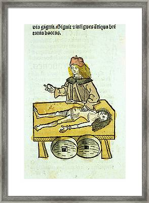 Medieval Surgery Framed Print by National Library Of Medicine