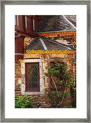 Medieval Window And Rose Bush In Germany Framed Print by Greg Matchick