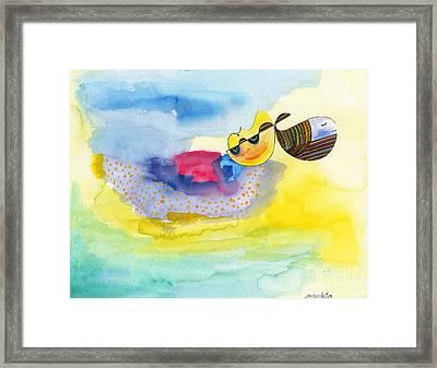 Meditating Humpback Whale In Ocean Framed Print by Mukta Gupta