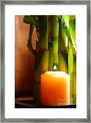 Meditation Candle And Bamboo Framed Print by Olivier Le Queinec