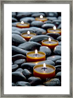 Bed Framed Print featuring the photograph Meditation Candles by Olivier Le Queinec