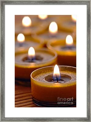 Meditation Candles Path Framed Print by Olivier Le Queinec