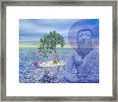 Meditation On Buddha Blue Framed Print by Dominique Amendola