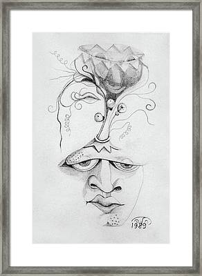 Meditation On The Crown Chakra Or Where Is Your Mind Going Surrealistic Fantasy Of Face With Energy  Framed Print by Rachel Hershkovitz