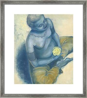 Meditation With Flower Framed Print by Judith Grzimek