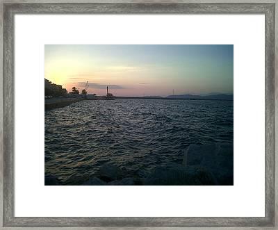Mediteranean Sunset Framed Print by Andreea Alecu