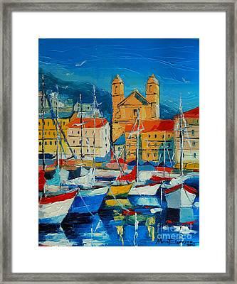 Mediterranean Harbor Framed Print by Mona Edulesco