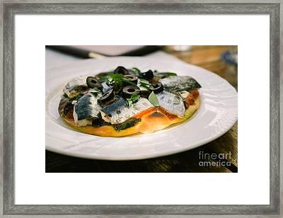 Mediterranean Sardine Pizza Framed Print by Dean Harte