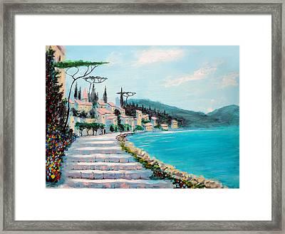 Mediterranean Shores Framed Print by Larry Cirigliano