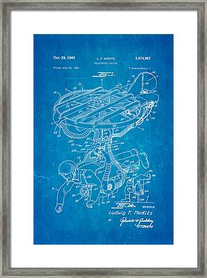 Meditz Helicopter Device Patent Art 1969 Blueprint Framed Print by Ian Monk