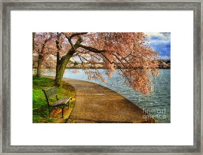 Meet Me At Our Bench Framed Print by Lois Bryan