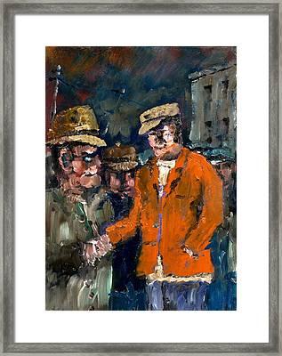 Meet The Boss Framed Print by Val Byrne
