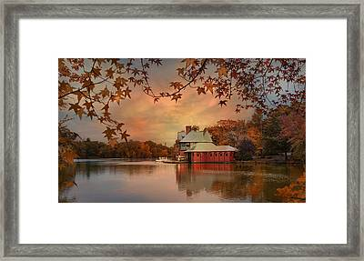 Meeting At The Lodge Framed Print by Robin-lee Vieira