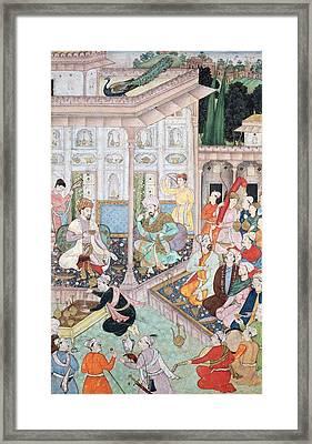 Meeting Between Babur And Bedi Az Zaman Mirza, 16th-17th Century Gouache On Paper Framed Print by Indian School