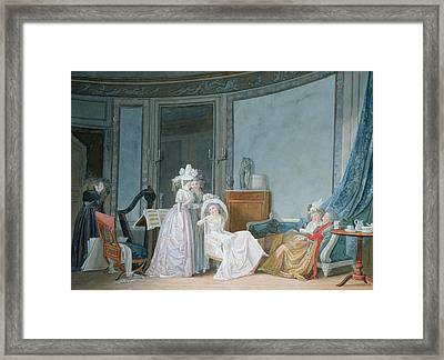 Meeting In A Salon, 1790 Gouache On Paper Framed Print by Jean Baptiste Mallet