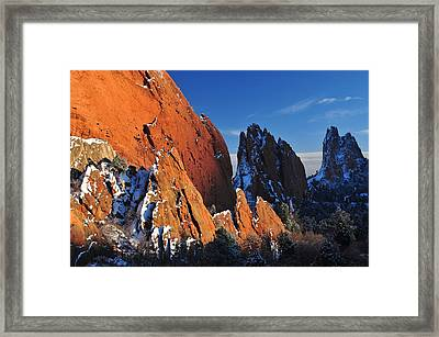 Megaliths With Snow At Sunset Framed Print by John Hoffman