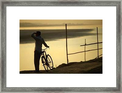 Mekong River Sunset View Vientiane Biker Framed Print by Blair Seitz