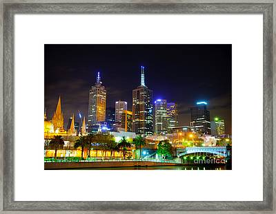 Melbourne City Skyline - Skyscapers And Lights Framed Print by David Hill