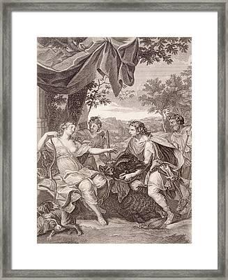 Meleager Presents The Boar's Head To Atalanta Framed Print by Bernard Picart