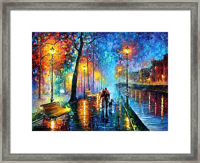 Melody Of The Night - Palette Knife Landscape Oil Painting On Canvas By Leonid Afremov Framed Print by Leonid Afremov